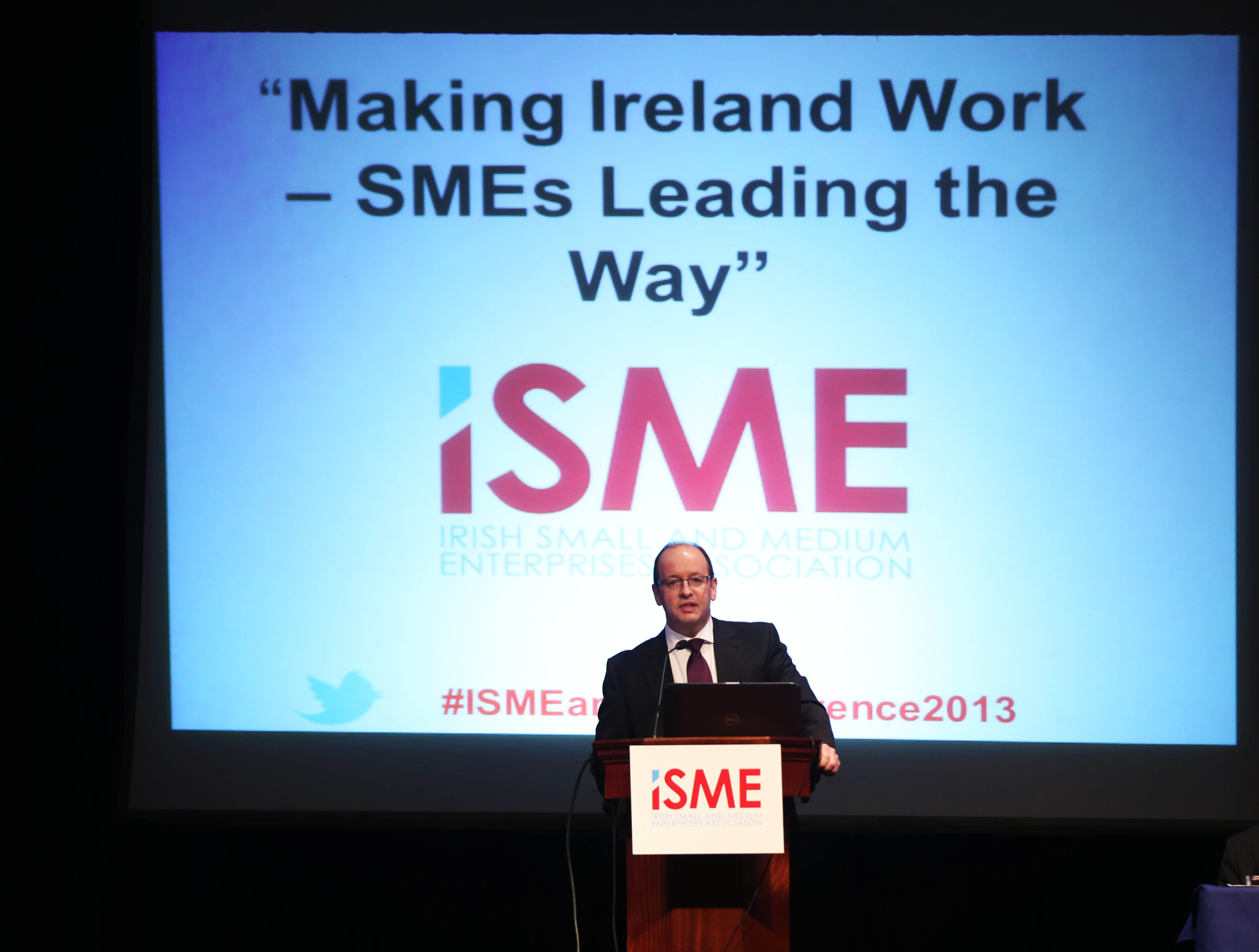 NO REPRO FEE. 8/11/2013. Eamonn Kielty Chairperson Of  Irish The Small And Medium Enterprises Association (ISME) Speaking At The  ISME Annual Conference In The RDS.Photo:Leon Farrell/Photocall Ireland.